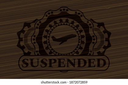 Plane taking off icon and Suspended text dark wood emblem. Brown handsome background. Vector illustration.