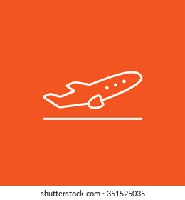 Plane taking off line icon for web, mobile and infographics. Vector white icon isolated on red background.