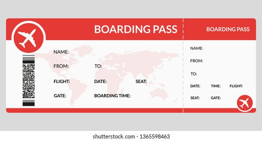 Plane ticket. Airline boarding pass template. Airport and plane pass document. Vector illustration.