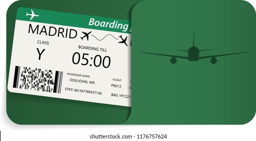 Plane ticket in corporate envelope. Boarding pass for travel by airplane