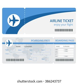 Plane ticket design. Blank plane tickets for business trip travel or vacation journey isolated vector illustration
