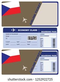 Plane ticket economy class in Czech Republic. Vector illustration.