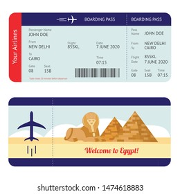 Plane ticket to Egypt - tourism destination travel boarding pass mockup with flight information and Giza pyramid and sphinx drawing, isolated flat cartoon vector illustration on white background