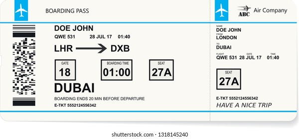 Plane ticket. Pattern of blue boarding pass. Concept of travel, trip or journey. Vector illustration.