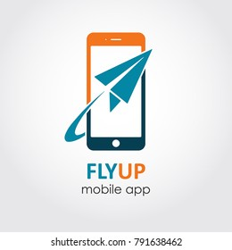 Plane ticket reservation app icon. Booking flight on-line flat style logo. Symbol of paper plane and phone sign design. Mobile app concept.