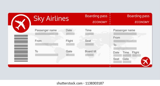Plane ticket template. Airplane flight ticket realistic blank. Boarding pass. Vector illustration.