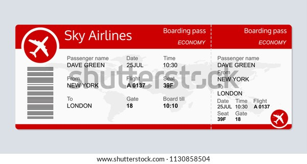 Plane Ticket Template Airplane Flight Ticket Stock Vector