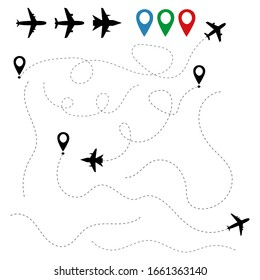 Plane traces and routes isolated on white background. Pathways flight aeroplanes. Aircraft location tracking in air travels. Aviation concept. Airliner fly from airport. Pointers air trips. Vector.