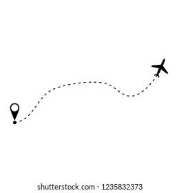 plane and its track on white background. Vector illustration.