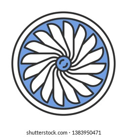 Plane turbine color icon. Airplane equipment. Jet propeller. Aeroengine. Aviation service. Aircraft travel. Motor running. Aviation part. Airliner journey. Isolated vector illustration