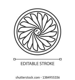 Plane turbine linear icon. Airplane equipment. Jet propeller. Aeroengine. Aviation service. Motor running. Thin line illustration. Contour symbol. Vector isolated outline drawing. Editable stroke