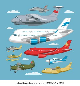 Plane vector aircraft or airplane and jet flight transportation in sky illustration aviation set of aeroplane or airliner and airfreighter cargo isolated on background