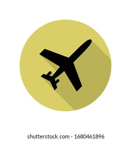 plane view from above long shadow icon. Simple glyph, flat vector of Airport icons for ui and ux, website or mobile application