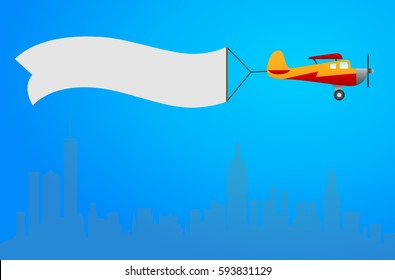 Plane with white banner flying above the city. Background for your text or advertizment. Vector illustration.