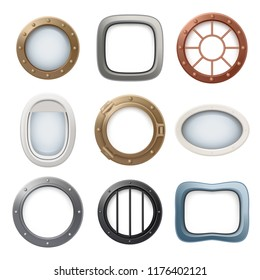 Plane window. Ship boat round glass portholes aircraft interior vector realistic 3d collection. Illustration of window porthole, hole fuselage spaceship