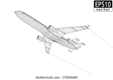 Plane Wireframe | EPS10 Vector