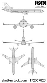 Plane Wireframes | EPS10 Vector