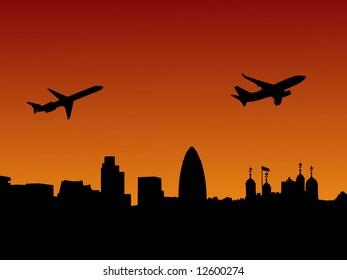Planes Departing London At Sunset Illustration