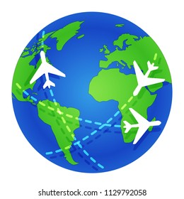 Planes fly around the globe. Journey. Planet Earth. World map. Flat color vector illustration