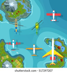 Planes and helicopters flying over the islands and sea, vector illustration. Air transport set