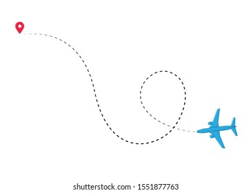 Planes. line of the plane. Airplane flight path with dash line and dash line trace. Vector Illustration