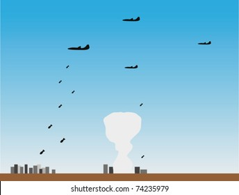 Planes put bombing attack to cities of the opponent