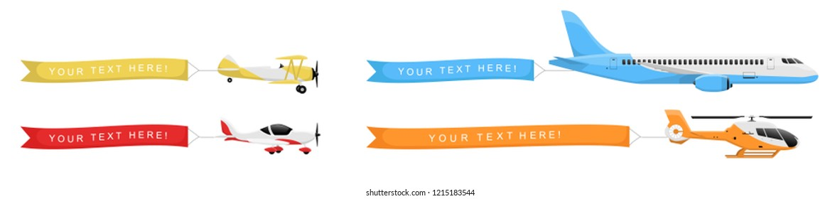 Planes set with banners in the sky isolated on white background. Air vehicle with an empty ribbon for advertising. Simple realistic and modern design. Flat style vector illustration.