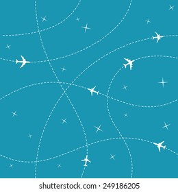 Planes with trajectories and stars on the blue sky seamless vector background