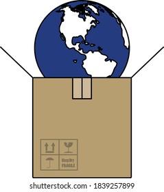 Planet in Kiste. Bearbeitbare Rahmenlinie mit Farbfilmdesign. Vektorgrafik.
