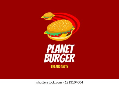 Planet burger big and tasty logo template with type of pictorial colorful logo. Can use for corporate brand identity, culinary, food truck, cafe, and delivery