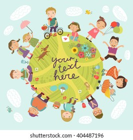 Planet of children. Vector illustration with cute kids