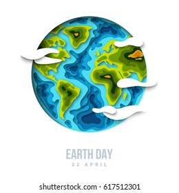 Planet with clouds, 3d paper cut design. Vector illustration. Happy Earth day concept