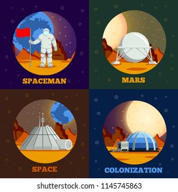 Planet colonization flat design concept with astronaut during space expedition and station on mars isolated vector illustration