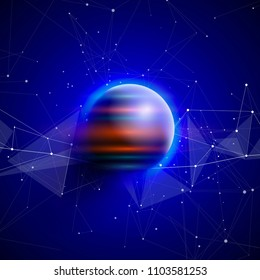 a planet in deep blue space entangled by information fields - a metaphor for the global Internet, network technologies, large data, digital economy, space communications, technologies of the future