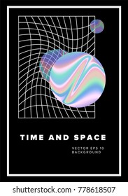 Planet and distorted mesh on dark background. Book cover, music poster, illustration. Time and space.