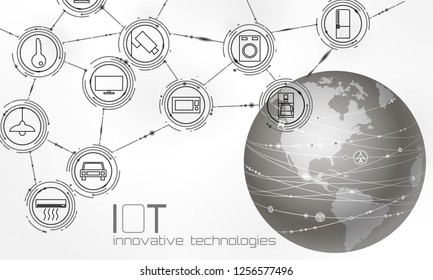 Planet Earth America USA continent internet of things innovation technology concept. Wireless communication network IOT ICT. Intelligent system automation AI computer online vector illustration