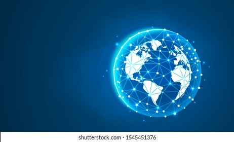 Planet Earth. Astronomy concept. Universe, Cosmos exploring concept. Abstract digital wireframe, low poly mesh, vector blue neon 3d illustration. Polygonal ozone shield with connected dots and lines