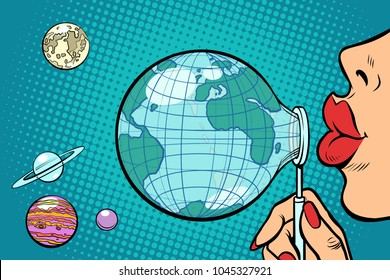 Planet Earth is blown out like a soap bubble. Ecology and environmental protection. Comic book cartoon pop art retro vector illustration
