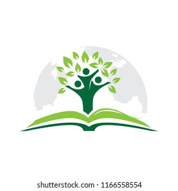 Planet Earth, Book, Kids and Tree, Logo Icon