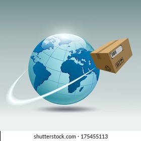 planet earth and a cardboard box that revolves around her