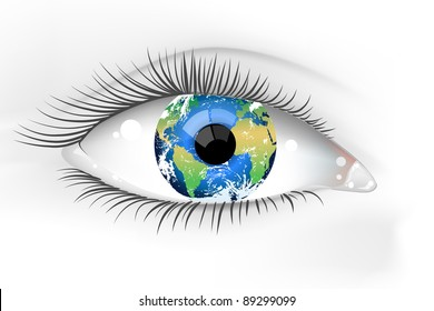 Planet Earth Eye Vector Desaturated