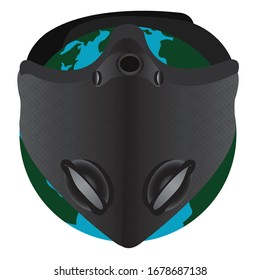 Planet Earth in a Face Protection Mask to fight against Corona Virus - Vector