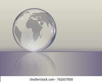 planet Earth as a glass ball lying on the table in gray and purple tones. Vector illustration.