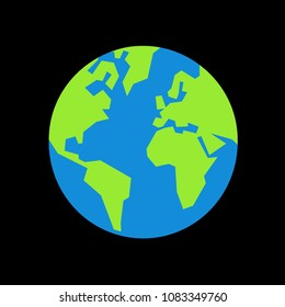 Planet Earth - globe with green continents and blue ocean. Black universe, cosmos and space is around it. Simple vector illustration with angular shapes