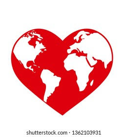 Planet Earth globe in the shape of a red heart. World health day or ecology environmental concept symbol isolated on white background, eps10 vector illustration