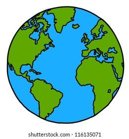 Planet earth hand writing cartoon. ( credit : nasa)