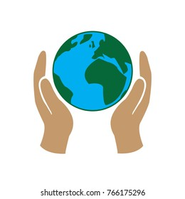 Planet Earth in hands, save the planet, ecology, climate vector icon color