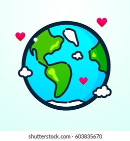 Planet earth with hearts line art in cartoon style, vector illustration