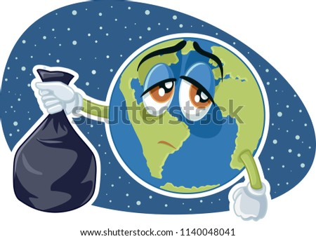 Planet Earth Holding Plastic Trash Bag Vector Cartoon. Plastic pollution concept drawing illustration