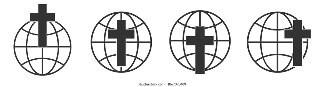 Planet Earth icon with christian cross. Set of linear globe icons. Vector illustration. Christian cross icon with globe earth symbol